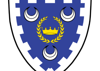 Azure, a crown within a laurel wreath Or, between three crescents within a bordure embattled argent