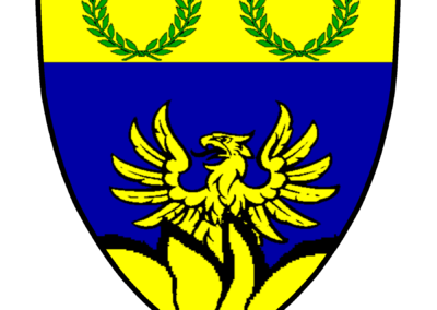 Azure, a phoenix rising from a base of flames, on a chief Or two laurel wreaths proper